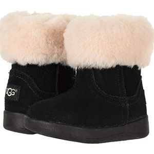 UGG JORIE TODDLER SUEDE SHEARLING BOOTS BLACK